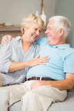 Smiling senior couple looking at eachother while hugging Royalty Free Stock Image