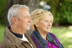 Smiling senior couple relaxing outdoor Royalty Free Stock Photos