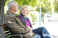 Smiling senior couple relaxing outdoor Royalty Free Stock Photo