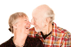 Smiling senior couple touching noses Royalty Free Stock Images