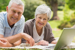 Smiling senior couple using laptop at park Stock Photo