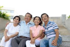 Smiling senior couples Stock Images