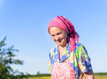 Smiling Senior Female Farmer at the Green Fields Stock Photography