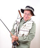 Smiling Senior Fly Fisherman Royalty Free Stock Photos