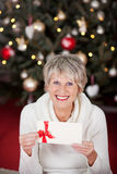 Smiling senior lady with a gift voucher. Smiling beautiful senior lady with a gift voucher displayed in her hands sitting in front of a decorated Christmas tree Stock Photo