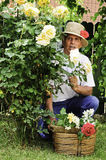 Smiling senior man in garden Royalty Free Stock Photos