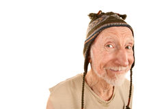 Smiling senior man in knit cap Stock Photos