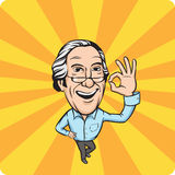 Smiling senior man with ok hand sign. Vector illustration of smiling senior man with ok hand sign Stock Image