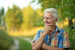 Smiling senior man. Outdoors portrait of smiling senior man holding hand on chin Royalty Free Stock Photo