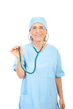 Smiling senior physician with stethoscope Stock Photos