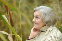 Smiling senior woman in autumn Stock Photography