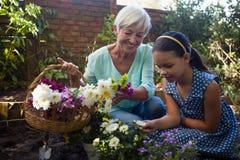 Smiling senior woman carrying flower basket looking at granddaughter royalty free stock photo