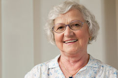 Smiling senior woman closeup Stock Photos