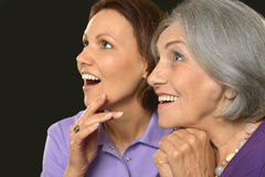 Smiling Senior woman with daughter Royalty Free Stock Image