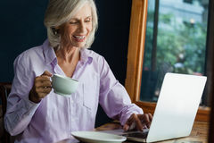 Smiling senior woman drinking coffee while working on laptop. At table in cafe shop Royalty Free Stock Photo