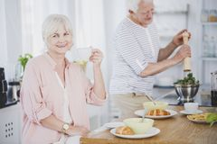 Smiling senior woman drinking tea Stock Images