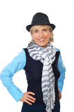 Smiling senior woman with hat Stock Photo