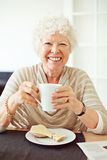 Smiling Senior Woman Having Her Breakfast Royalty Free Stock Image