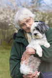 Smiling Senior woman with her dog in the spring park Stock Image