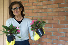 Smiling senior woman holding flowers Royalty Free Stock Image