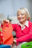 Smiling Senior Woman Looking In Bag At Home Royalty Free Stock Photos