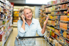 Smiling senior woman on phone call Royalty Free Stock Image