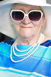 Smiling senior woman in sunglasses Royalty Free Stock Images