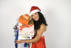 Smiling sensual Santa helper woman royalty free stock images