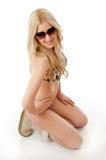 Smiling sensual woman wearing sunglasses Stock Images
