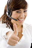 Smiling service provider with thumbs up Royalty Free Stock Photography