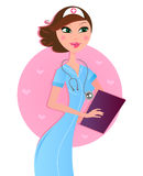 Smiling sexy brown hair nurse Royalty Free Stock Images
