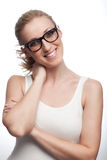 Smiling Sexy Lady Wearing White Sleeveless Stock Images