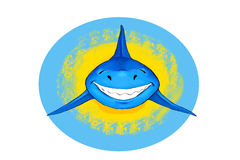Smiling shark. Blue smiling shark in yellow and blue circles Stock Images