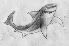 Smiling shark. Hand drawn pencil sketch of a cartoonish shark character with the evil smile while jumping out of water Royalty Free Stock Images