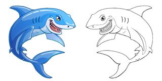 Smiling shark on a white background. The friendly cheerful kind smiling shark color full and contour line on a white background. Marine predatory animal fish Stock Photos