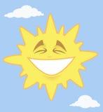 Smiling shining sun. Vector illustration: smiling sun in the sky with clouds vector illustration
