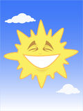 Smiling shining sun in the blue sky. Vector illustration of a funny smiling sun in the blue sky.  Easy to edit Royalty Free Stock Photo