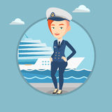 Smiling ship captain in uniform at the port. Stock Images