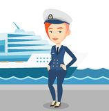 Smiling ship captain in uniform at the port. Captain standing on the background of cruise ship. Ship captain in uniform on seacoast background. Ship captain Stock Photos