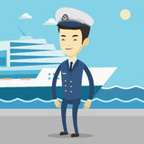 Smiling ship captain in uniform at the port. Royalty Free Stock Photo