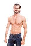 Smiling shirtless guy over white background Royalty Free Stock Photography