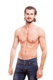 Smiling shirtless guy over white background Stock Photos