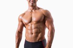 Smiling shirtless muscular man Stock Images