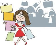 Smiling shopper cartoon. Cartoon of happy woman shopper carrying out parcels from sale Royalty Free Stock Image