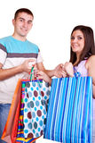 Smiling shopper couple Stock Photo