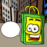 Smiling shopping bag with speech bubble Stock Image