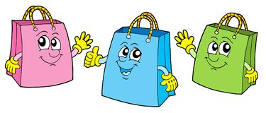 Smiling shopping bags. Vector illustration Royalty Free Stock Photo