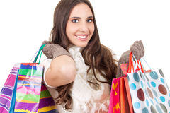 Smiling shopping girl Stock Photo