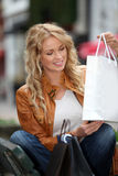 Smiling shopping girl Royalty Free Stock Image