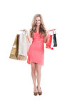 Smiling shopping lady Royalty Free Stock Photos